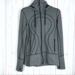 Lululemon Gray Black Hoodie Sweater Size 8